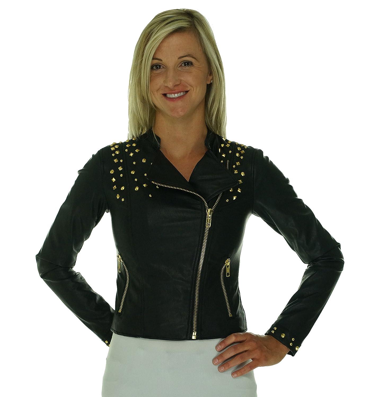 849adda1c5f Amazon.com  Pink Envelope Juniors  Studded Metallic Moto Jacket (XS ...
