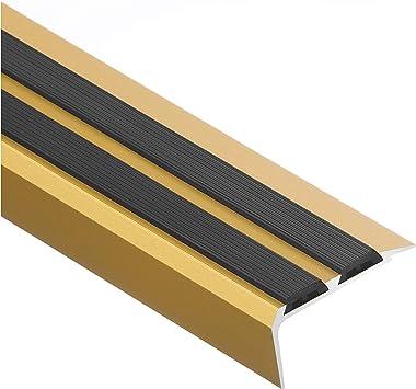 CEZAR W de al de lssgcz de C23 – 100 ancho Escaleras/Perfil cantos de escaleras/Perfil ángulo perfil de goma/antideslizante de goma, Oro: Amazon.es: Bricolaje y herramientas