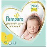Pampers Premium Care Diapers, Size 1, Newborn, 2-5 kg, Mega Box, 168 Count