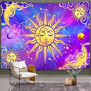 Bonsai Tree Sun and Moon Tapestry, Psychedelic Abstract Aesthetic Space Stars Wall Hanging Astrology, Dark Galaxy Celestial Purple Blue Wall Art for Living Room Dorm Home Decor, 51x59 Inches
