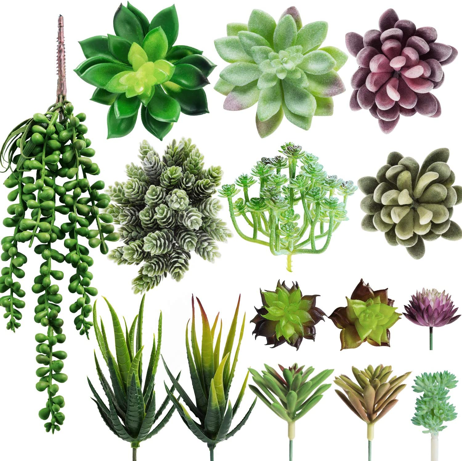 MoonLa Artificial Fake Succulent Plants Assorted 15Pcs Unpotted Face Succulent Plants Textured Faux Succulent Picks Faux Aloe Cactus String of Pearls Floral Arrangement Accent