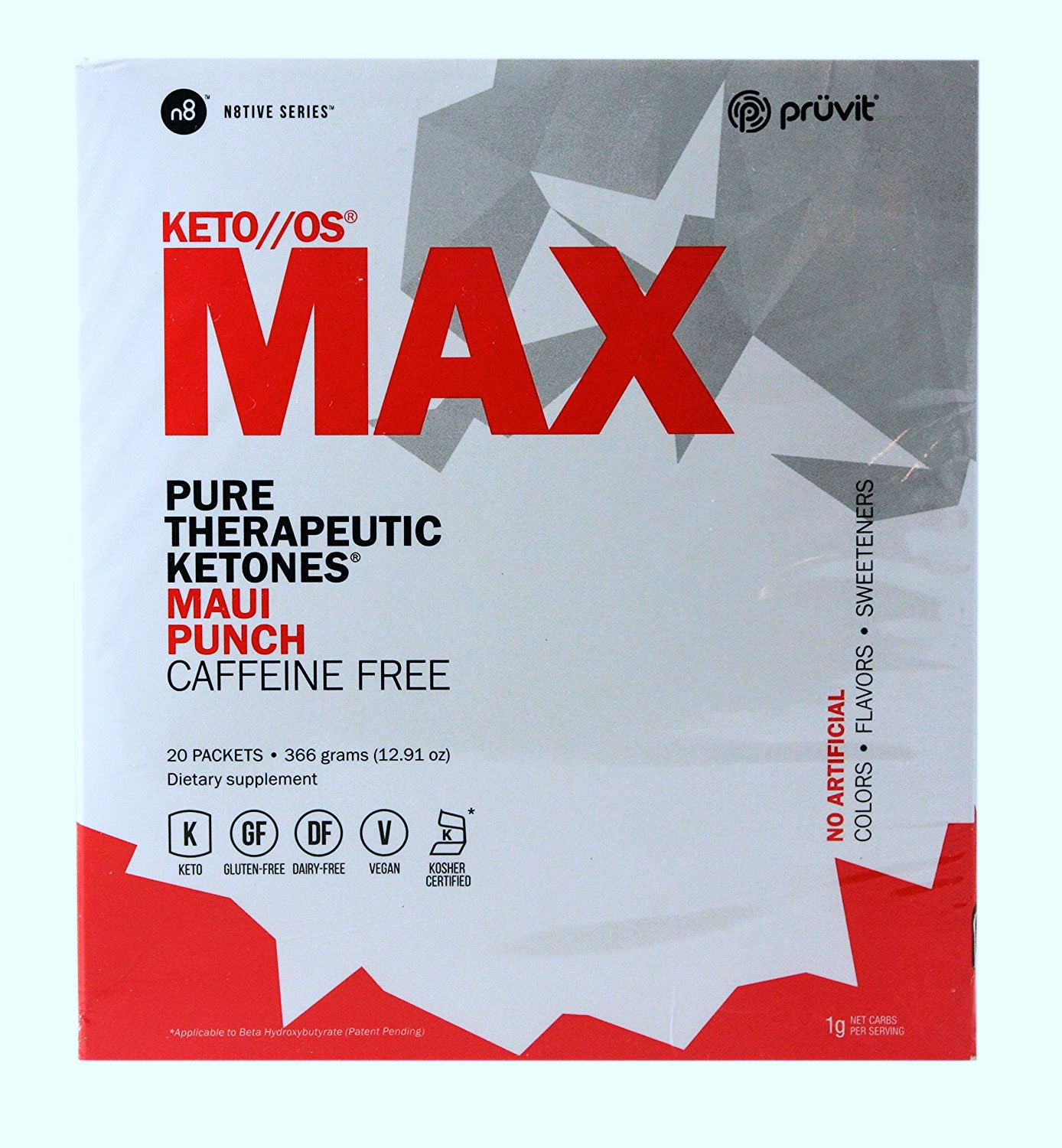 KETO//OS MAX Maui Punch No Caffeine, BHB Salts Ketogenic Supplement - Beta Hydroxybutyrates Exogenous Ketones for Fat Loss, Workout Energy Boost and Weight Management through Fast Ketosis, 20 Sachets