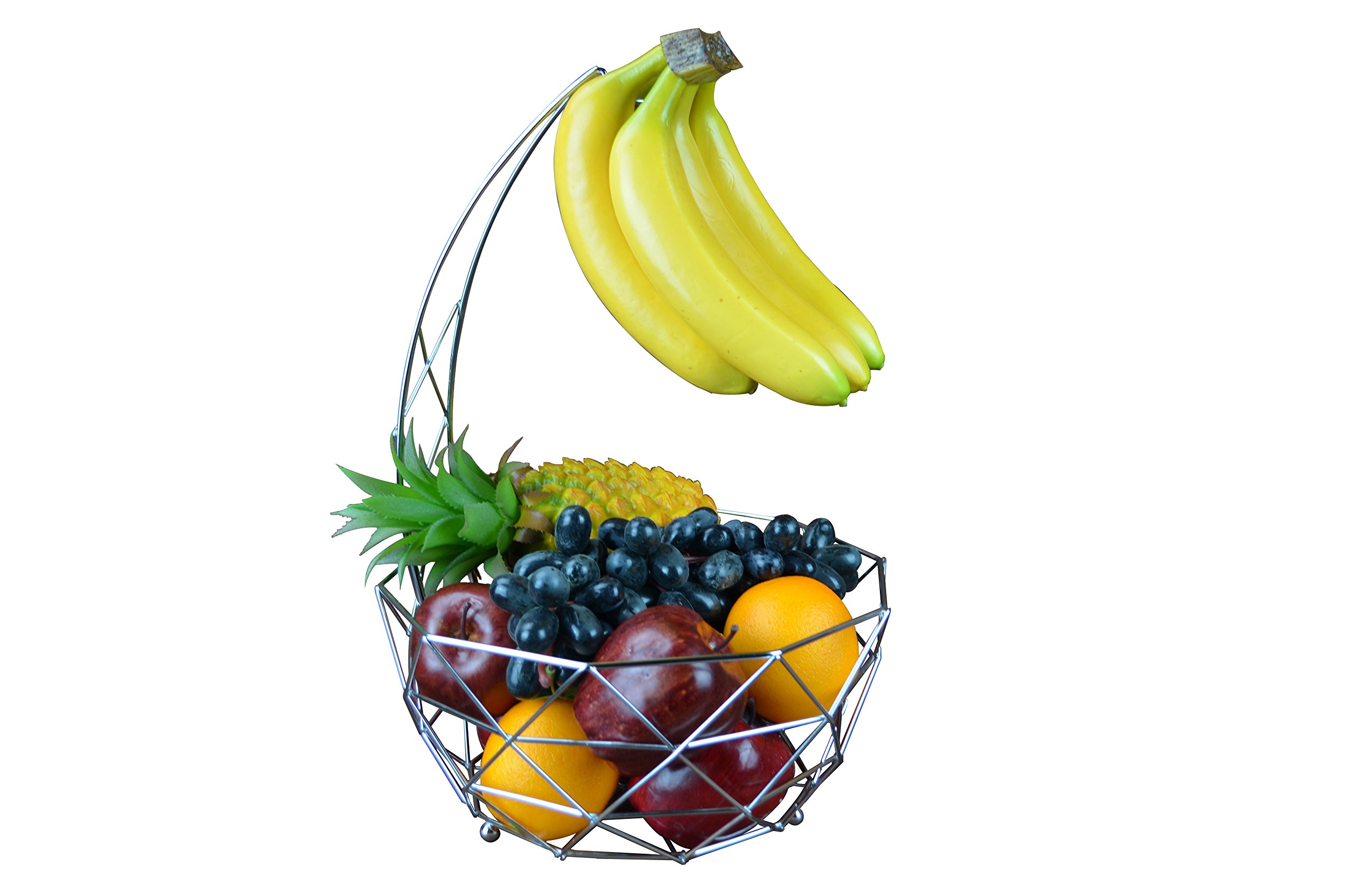 Fruit Basket with Banana Hanger, Detachable Banana Hanger, Home accent furnishings (Chrome)