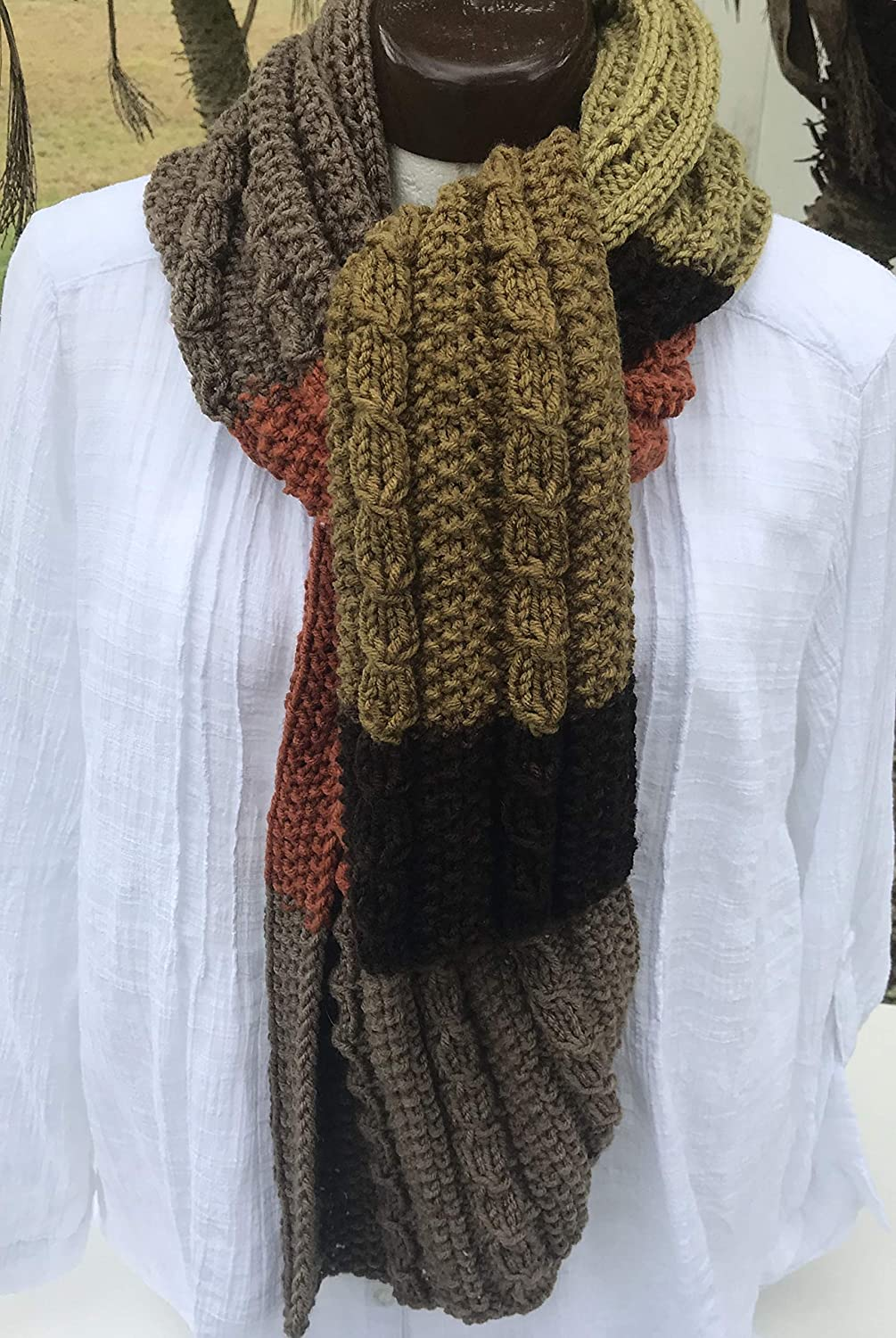 Amazon Com Woman S Hand Knit Scarf With Striped Fall Colors Handmade