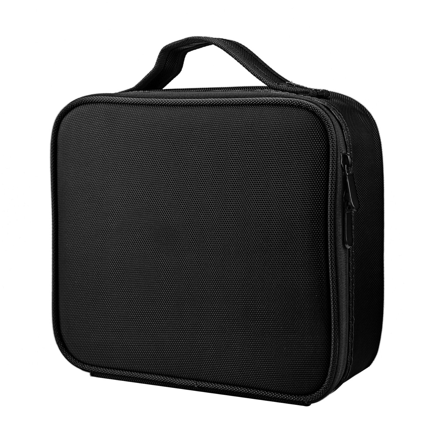 Goldwheat Travel Makeup Cosmetic Case Bag Professional Small Make-up Train Case Brushes Organizer Toiletry Bag with Adjustable Dividers Water Resistant,Black