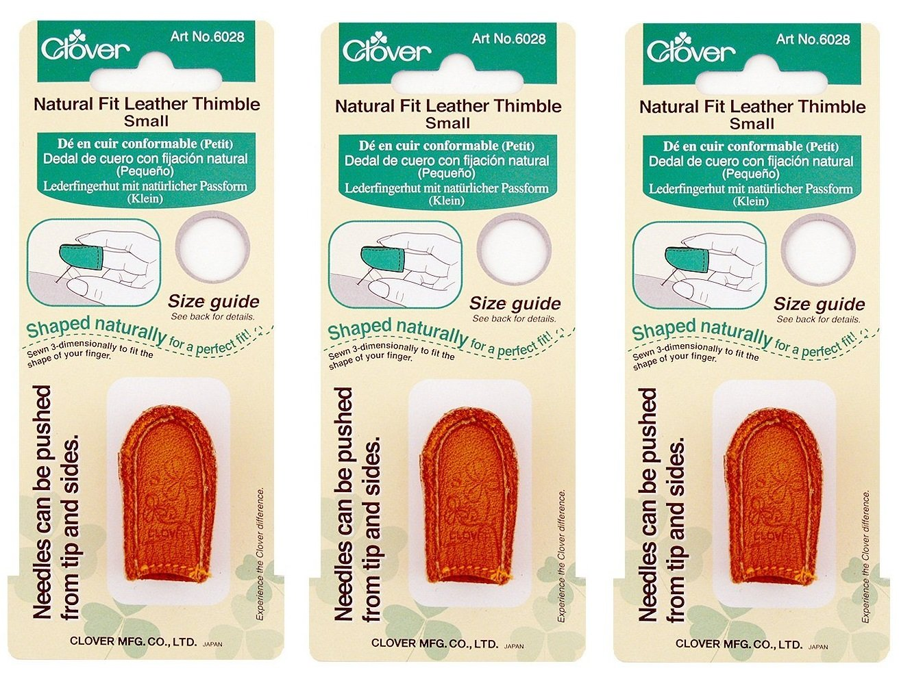 Clover Natural Fit Leather Thimble, Small (3 Pack) by Clover
