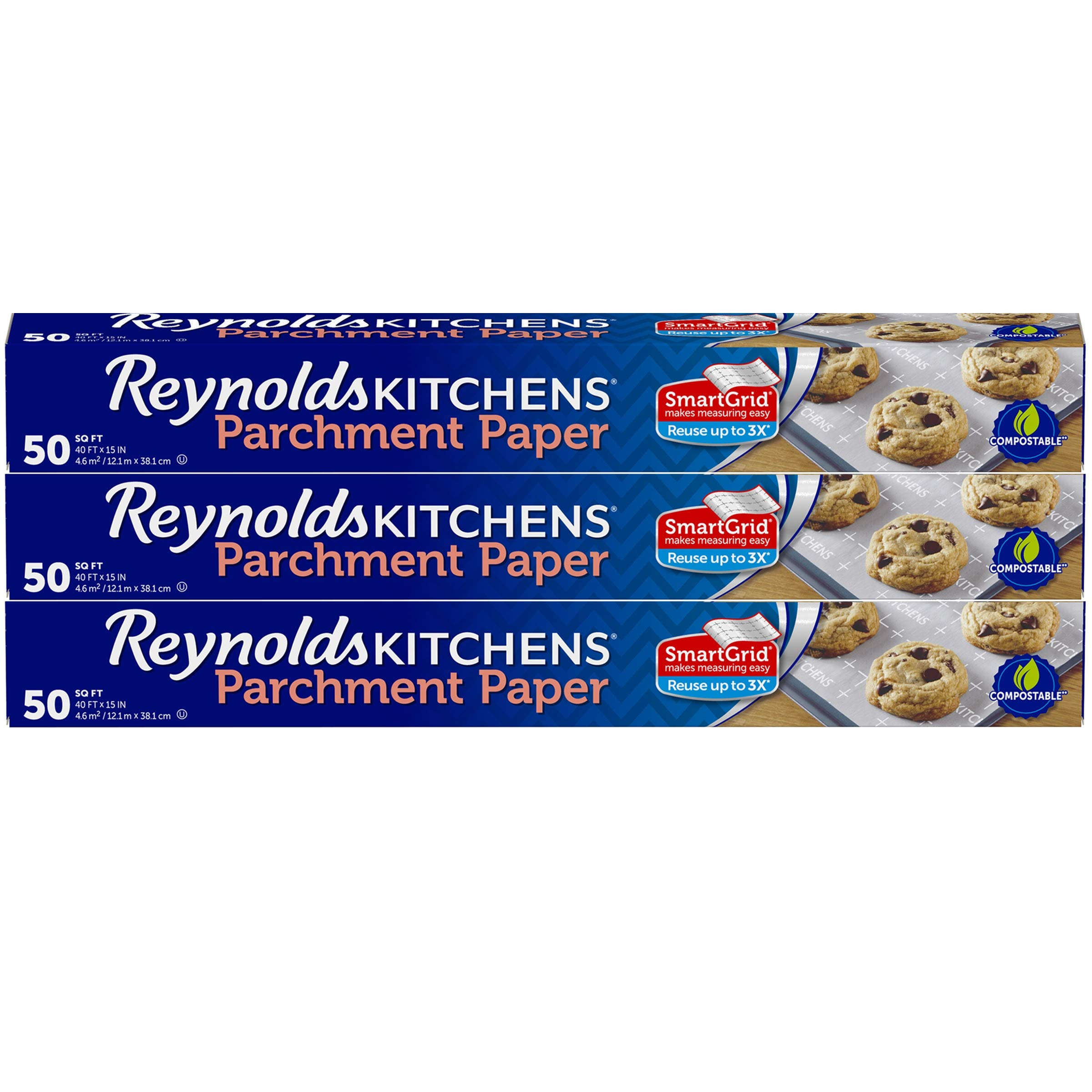 Reynolds Kitchens Parchment Paper Roll with SmartGrid - 3 Boxes of 50 Square Feet (150 Square Feet Total) by Reynolds