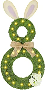 Brwoynn Easter Bunny Wreath, LED Lighted Green Spring Wreath, Bunny Door Hanger with Fake Flowers and Burlap Bow, Hanging Wall Window Decor for Spring Easter Decoration