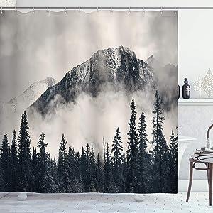 "Ambesonne National Parks Shower Curtain, Canadian Smokey Mountain Cliff Outdoors Idyllic Scenery Photo Artwork, Cloth Fabric Bathroom Decor Set with Hooks, 75"" Long, Black White"