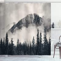 Ambesonne National Parks Shower Curtain, Canadian Smokey Mountain Cliff Outdoors Idyllic Scenery Photo Artwork, Cloth Fabric Bathroom Decor Set with Hooks, 70″ Long, Black White