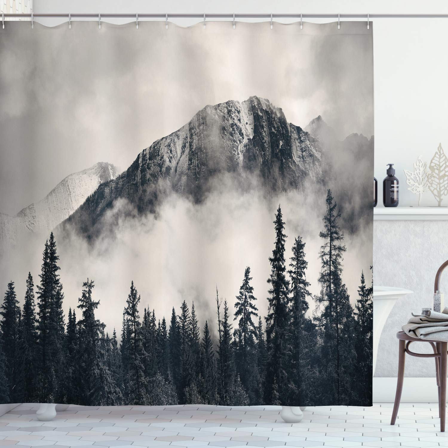 Ambesonne National Parks Home Decor Shower Curtain by, Canadian Smokey Mountain Cliff Outdoor Idyllic Photo Art, Fabric Bathroom Decor Set with Hooks, 84 Inches Extra Long, Black and White