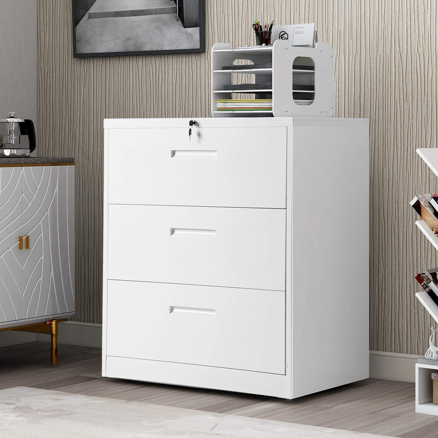 P PURLOVE 3 Drawer Lateral File Cabinet Lockable Heavy Duty Metal File Cabinets Lateral (White)…