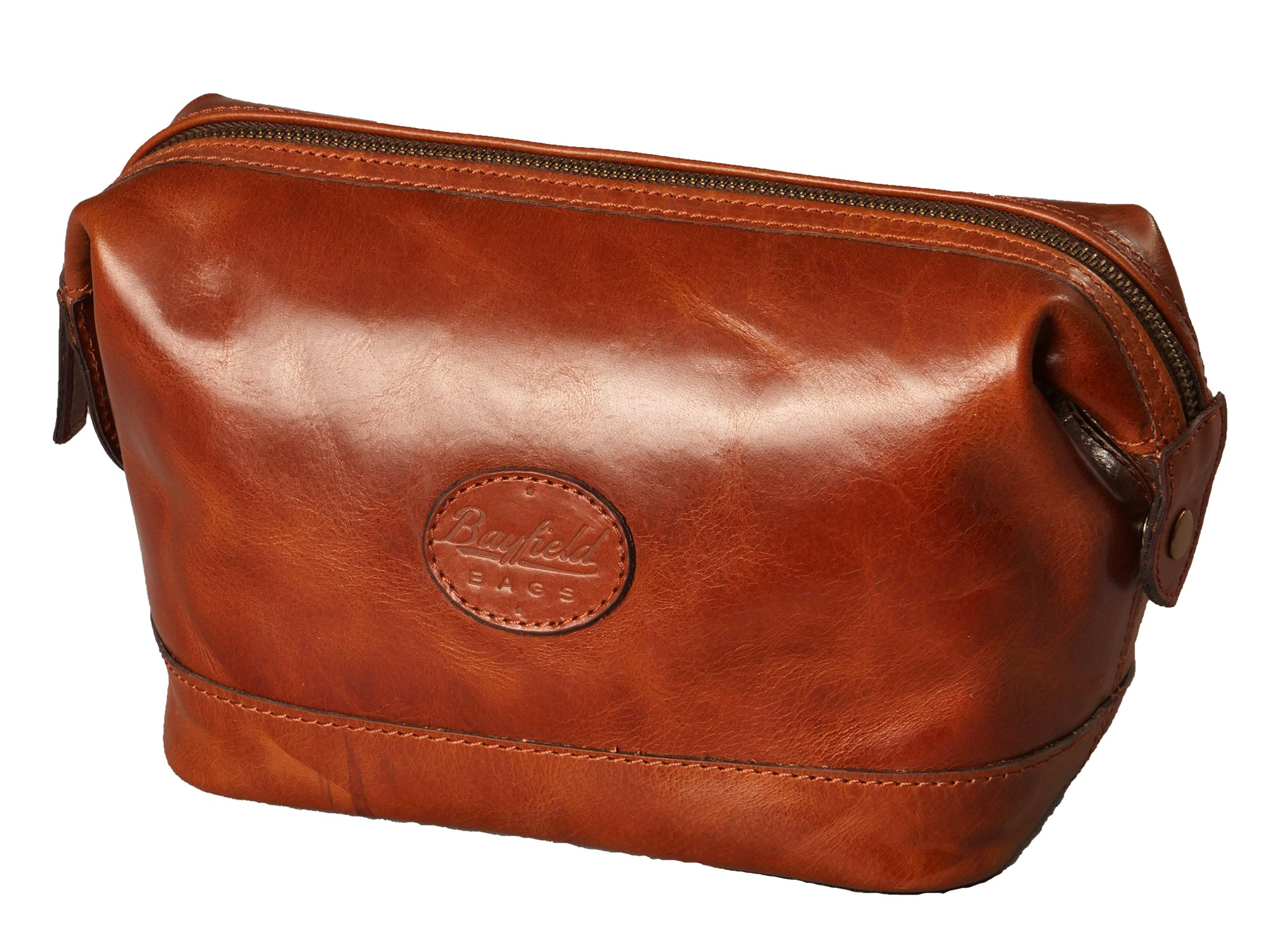 Leather Toiletry Bag for Men – Zippered Dopp Kit Organizer – Brown Travel Shaving Kit Case (9x5x7) by Bayfield Bags by Bayfield Bags (Image #1)