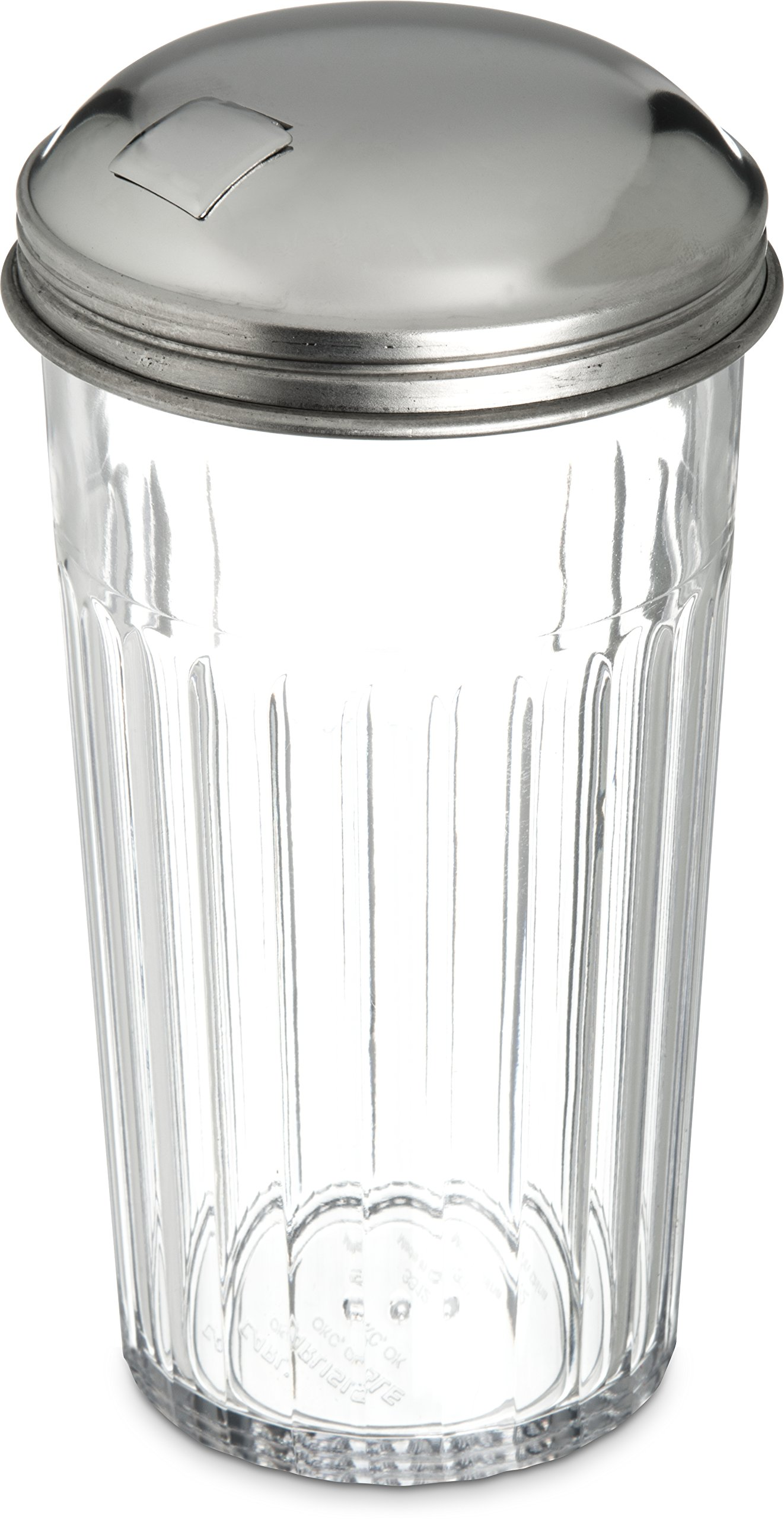 Carlisle 331607 SAN Base Sugar Pourer Shaker with Stainless Steel Top, 12-oz. Capacity, Clear (Case of 36)