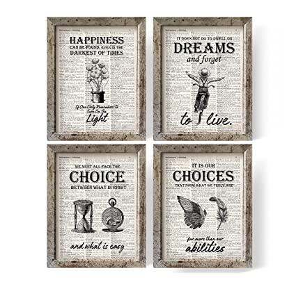 photo regarding Printable Harry Potter Book Pages known as IHopes+ Harry Potter Offers and Sayings Traditional E-book Artwork Prints Fixed of 4 Images 8x10 Unframed Suitable Harry Potter Presents