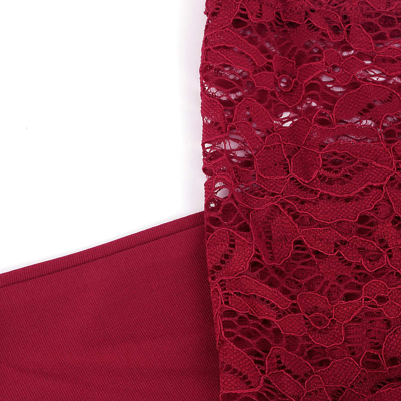 KILOLONE Abendkleid Gro/ße Gr/ö/ßen Kleider Damen Plus Size Spitzenkleid 3//4 /Ärmel Elegantes Cocktailkleid