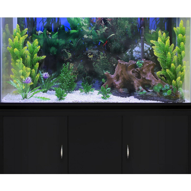 MonsterShop - Acuario 300 Litros con Mueble Negro y Kit con Plantas y Grava Blanca 143cm x 120cm x 39cm: Amazon.es: Hogar
