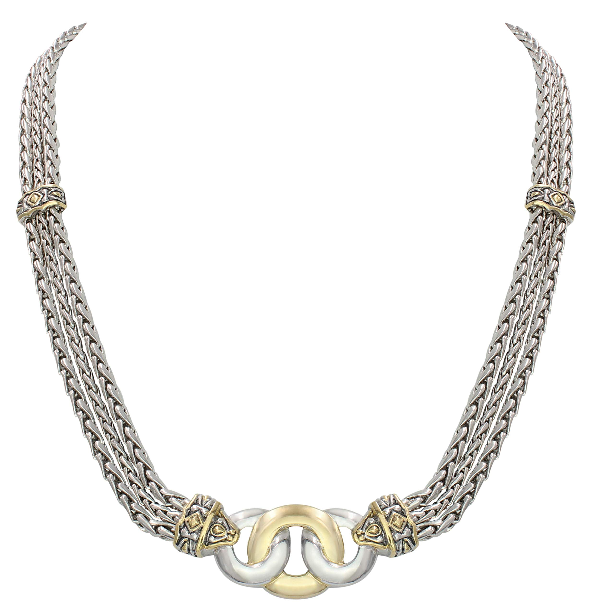 John Medeiros Two Tone Necklace for Women Triple Strand Chain Three Circle Design Made in America 17'' Ladies Necklace by John Medeiros