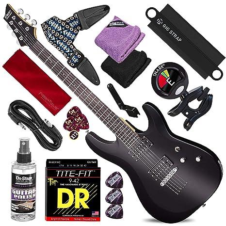 Schecter 432 C-6 Deluxe Guitarra eléctrica de cuerpo sólido (negro ...