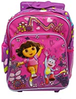 Small Size Pink Music Dora the Explorer Rolling Backpack Luggage