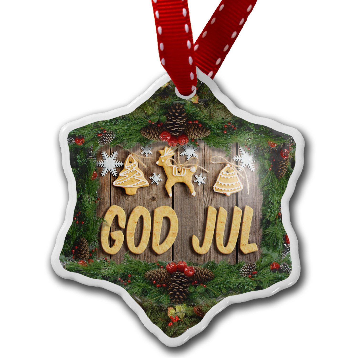 Amazon.com: Christmas Ornament Merry Christmas in Norwegian from ...