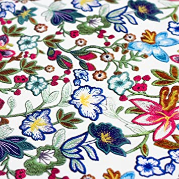 Kunstleder Lederimitat weiß mit bunten Blumen - Meterware - Stoff ...