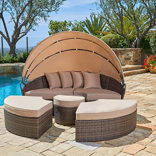 SUNCROWN Outdoor Patio Round Daybed with Retractable Canopy, Brown Wicker Furniture Clamshell Sectional Seating with Washable Cushions, Backyard, Porch