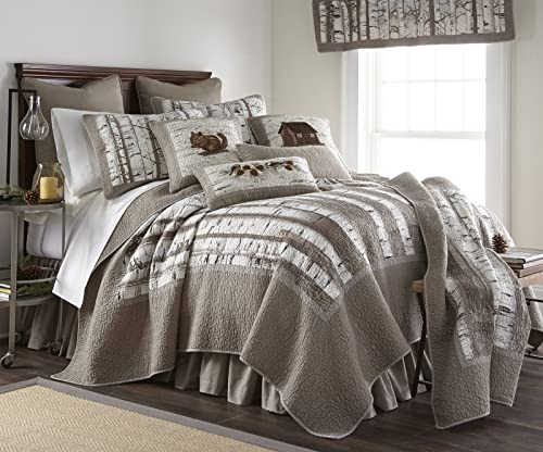 Donna Sharp King Bedding Set – 3 Piece – Birch Forest Lodge Quilt Set with King Quilt and Two Standard Pillow Shams – Machine Washable
