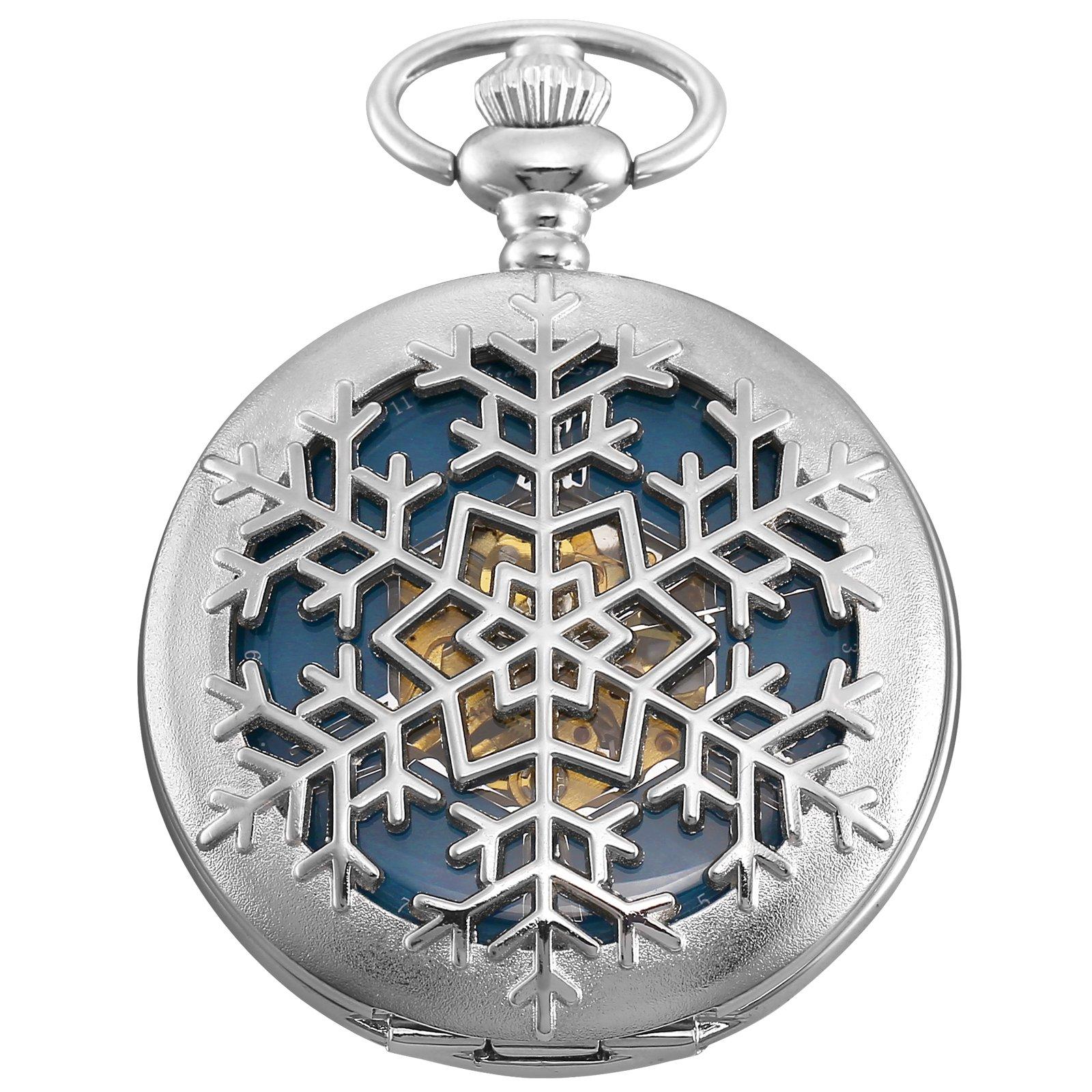 KS Skeleton Snow Flake Design Case Roman Numeral Markers Mechanical Pocket Watch KSP101