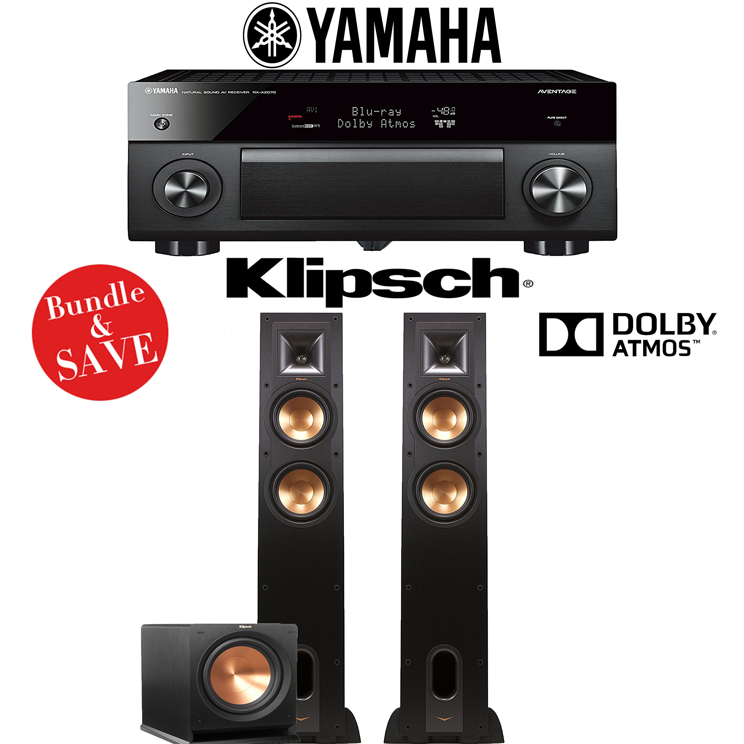 Yamaha AVENTAGE RX-A2070BL 9.2-Ch 4K Network AV Receiver + Klipsch R-26FA + Klipsch R-112SW - 2.1-Ch Dolby Atmos Home Theater Package by Yamaha