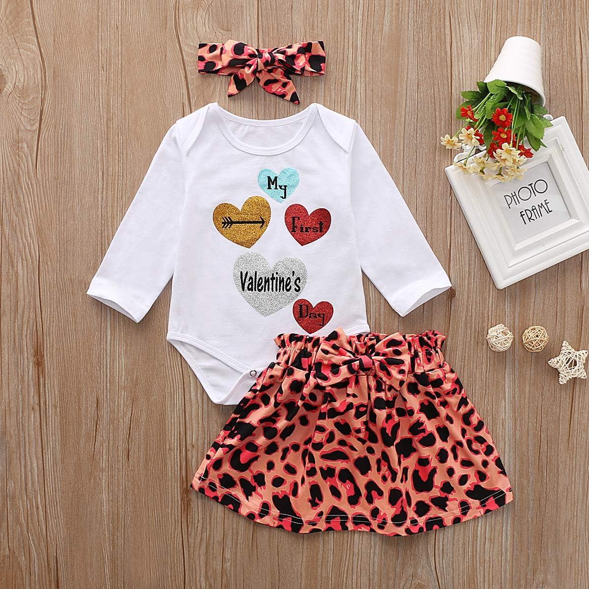 Newborn Baby Girl Valentines Day Romper Top Tutu Dress Leg Warmers Headband 4Pcs Outfit