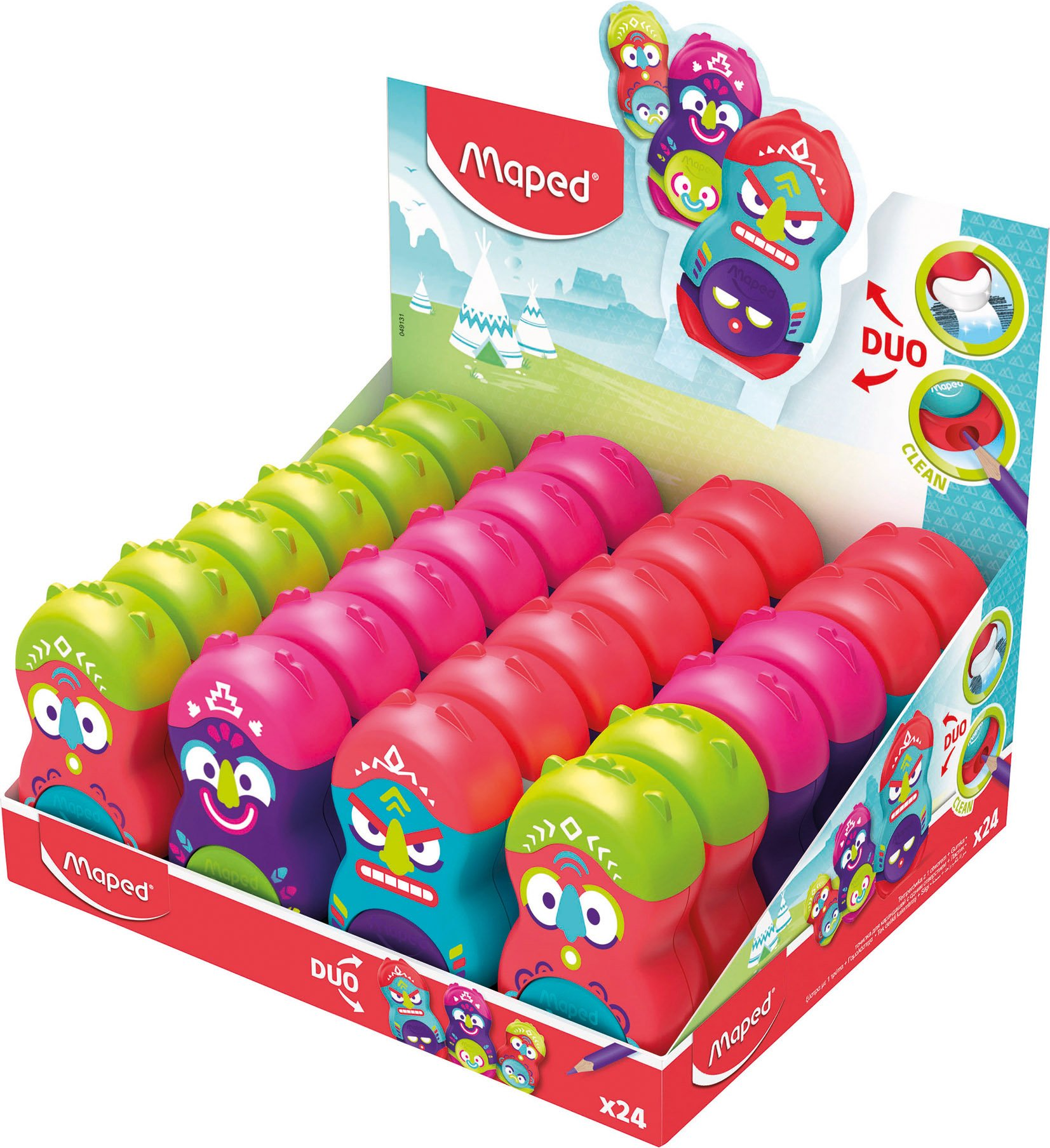 Maped Loopy Totem Duo Eraser and Sharpener (Box of 24 in Assorted Colours) by Maped (Image #1)
