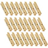 Wooden Clothespins - 24-Pack Large Clothespins for Shirts, Sheets, Pants, Decor - Made of Natural Wood