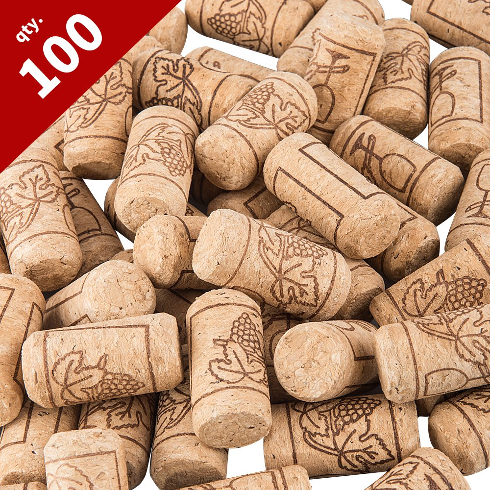 Tebery #8 Natural Wine Corks Premium Straight Cork Stopper 7/8'' x 1 3/4'', Excellent for Bottled Wine - 100 Count