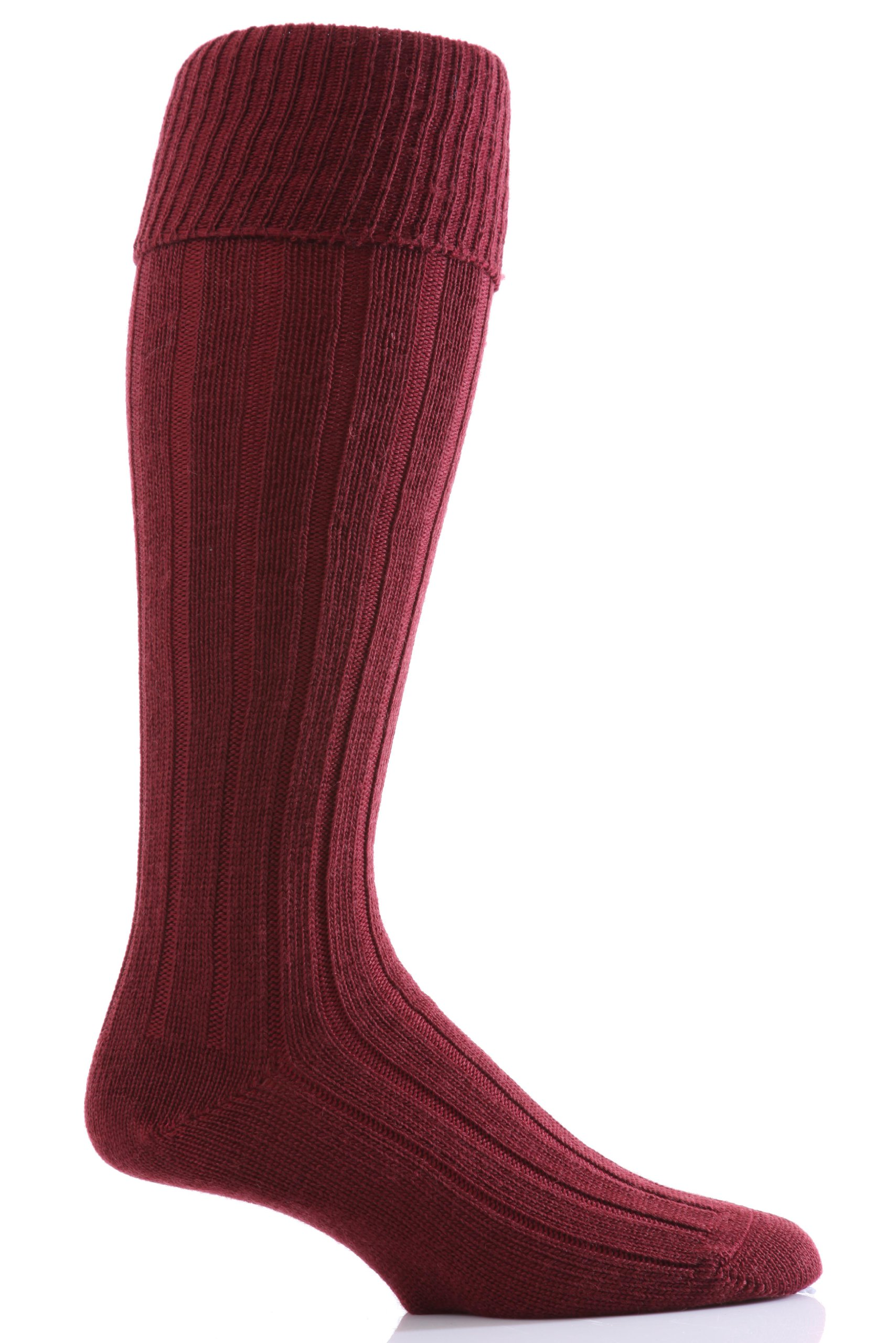 Glenmuir Men's 1 Pair Birkdale Golf Wool Knee High Socks with Turn Over Cuff 8-12 Burgundy by Glenmuir
