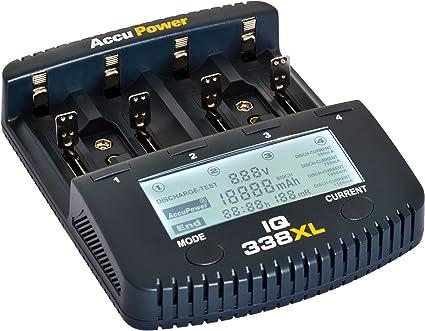 Amazon.com: AccuPower cargador rápido iq338 X L LCD para Li ...