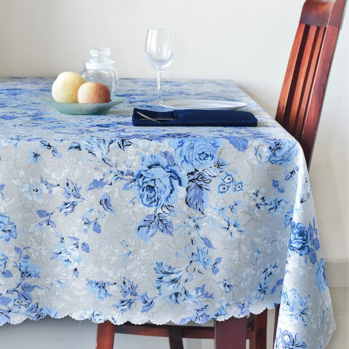 AHOLTA DESIGN Floral Rectangle Tablecloth Stain Resistant- Table Cover for Kitchen Dining Room Restaurants Thanksgiving Christmas Dinner New Year (Blue Flowers, Rectangle 60''x120'')