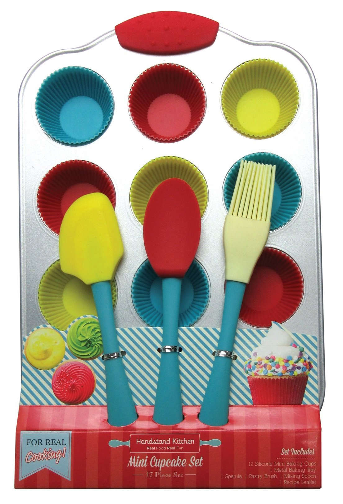 Handstand Kitchen 20-piece Real Mini Cupcake Baking Set with Recipes for Kids