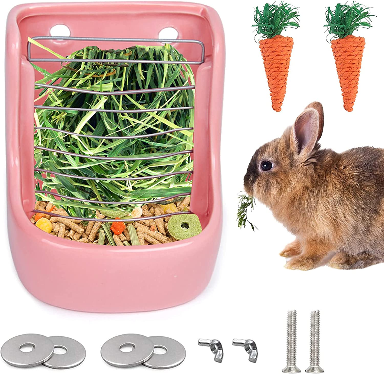 Rabbit Hay Feeder Manger Rack, Heavy CeramicBunny Food Dispenser with Chew Carrot Toys for Rabbits Guinea Pig, Chinchilla, Ferret