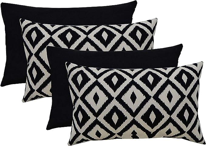 Rsh Décor Indoor Outdoor Mixed Set Of 4 Decorative Rectangular Lumbar Throw Pillows Black And White Aztec Geometric Solid Black Fabrics 20 W X 12 H Kitchen Dining