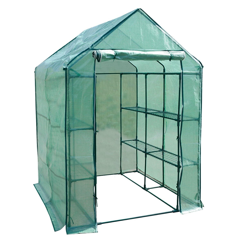 casa pura Greenhouse, Biotopia | 12 Shelf, 3 Tier (W): 143 x (D): 143 x (H): 195 cm | Includes Ground Pegs