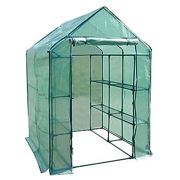 casa pura Invernadero caseta de jardín para tomates y otras plantas (12 o 18 repisas
