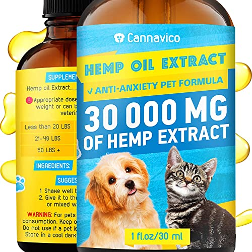 CANNAVICO Hemp Oil Dogs Cats – 30 000 mg – Pet Separation Anxiety, Joint Pain, Seizures, Chronic Pains, Anti-Inflammatory, Stress Relief- Calming Drops – Omega 3, 6, 9