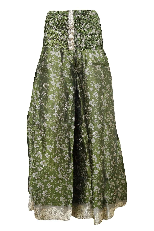 Mogul Interior Womens Vintage Skirts Green Silk Sari Swirling Boho Divided Maxi Skirts ... ...