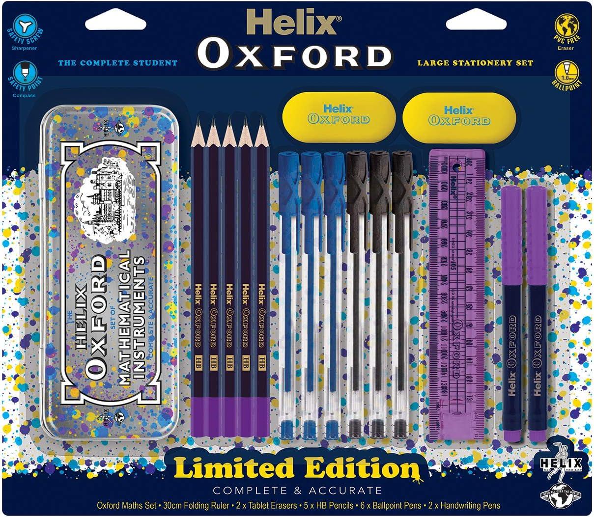 Pen Metal Compass /& Geometry Set Pencils Helix BASIC Stationary//School Set
