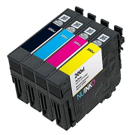 NUINKO 4 Pack REMANUFACTURADO Epson 200 X L cartucho de ...
