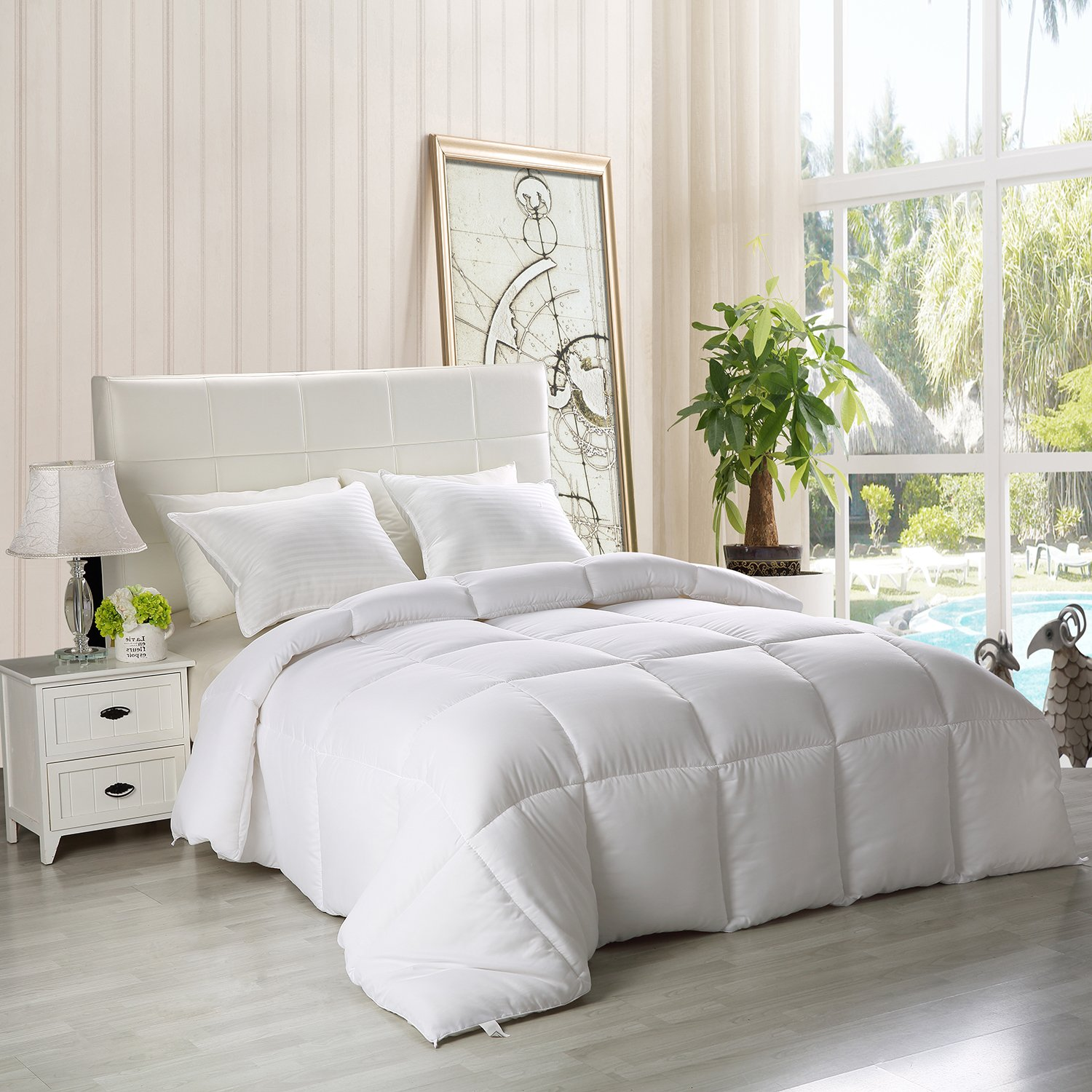 Down Alternative Comforter (White, Queen) - All Season Comforter