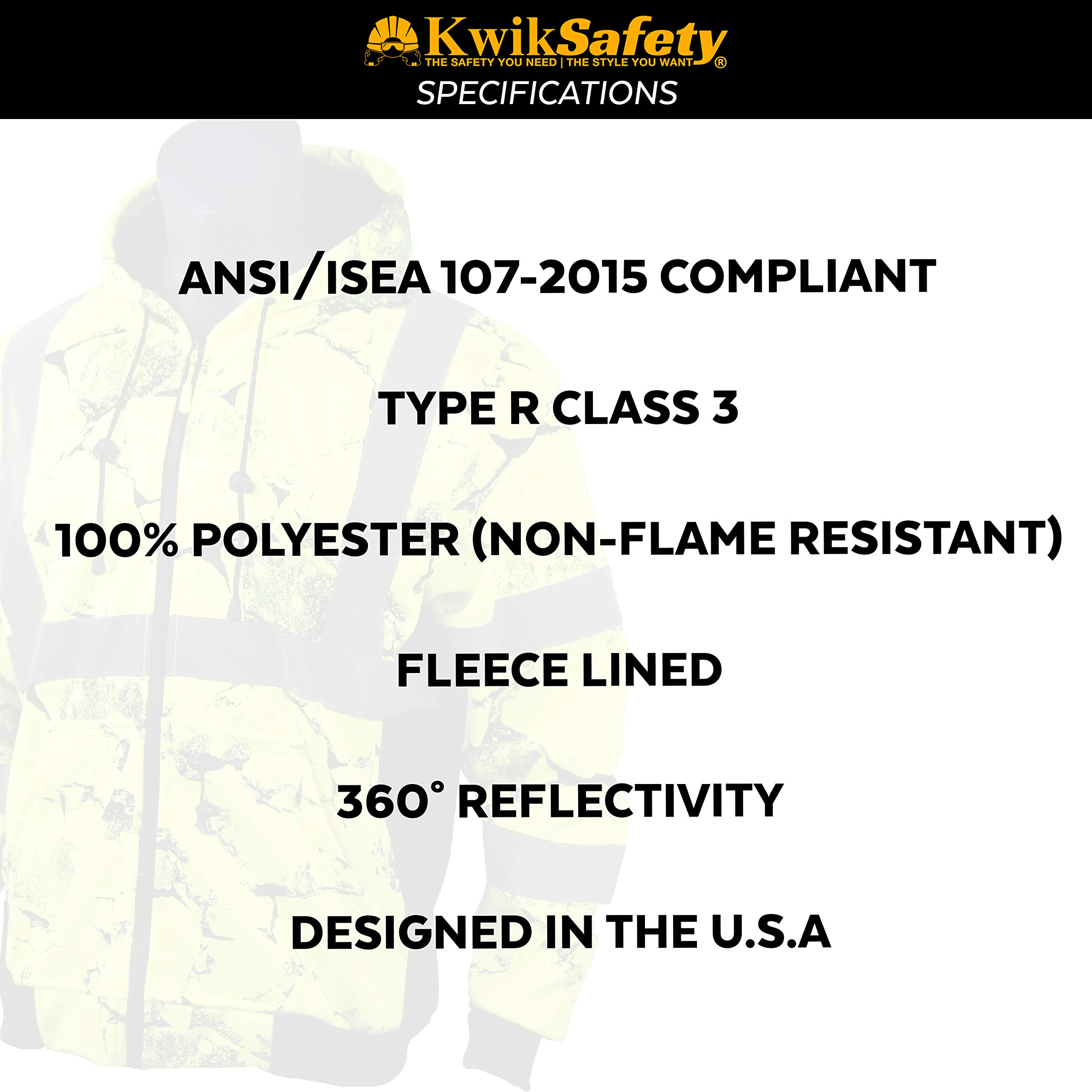 KwikSafety UNCLE WILLY'S WALL High Visibilty Reflective Anti Pill ANSI Class 3 Safety Jacket with Hoodie, Yellow, X-Large by KwikSafety (Image #6)