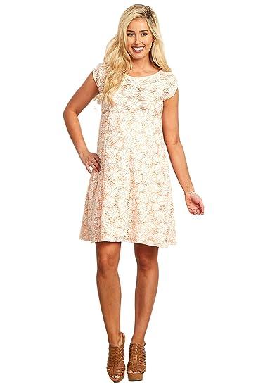 679b6e09197d PinkBlush Maternity Blush Pink Floral Lace Maternity Dress, Small