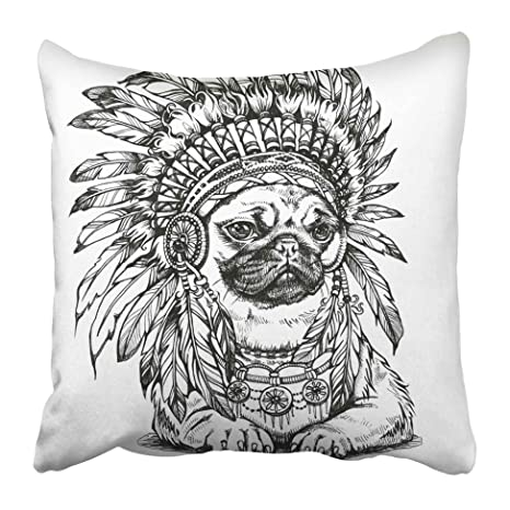 Amazon Com Emvency Decorative Throw Pillow Covers Cases Tattoo Pug